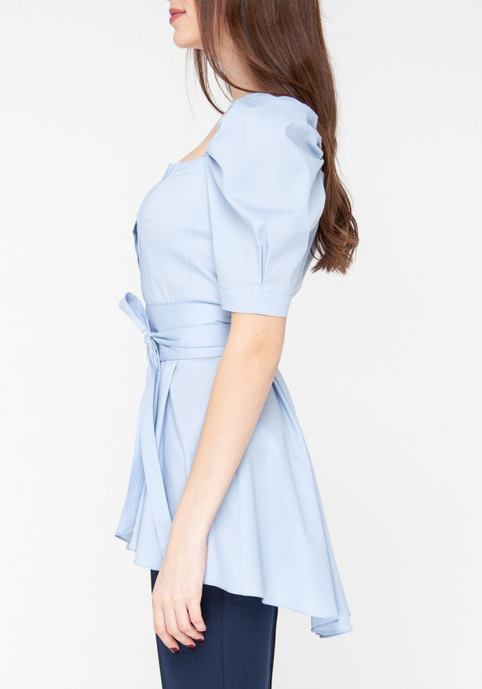 """""""Orhi"""" blue cotton blouse with lantern sleeves"""