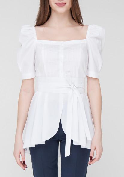 """Белая хлопковая блуза с рукавами-фонариками """"Орхи"""""""