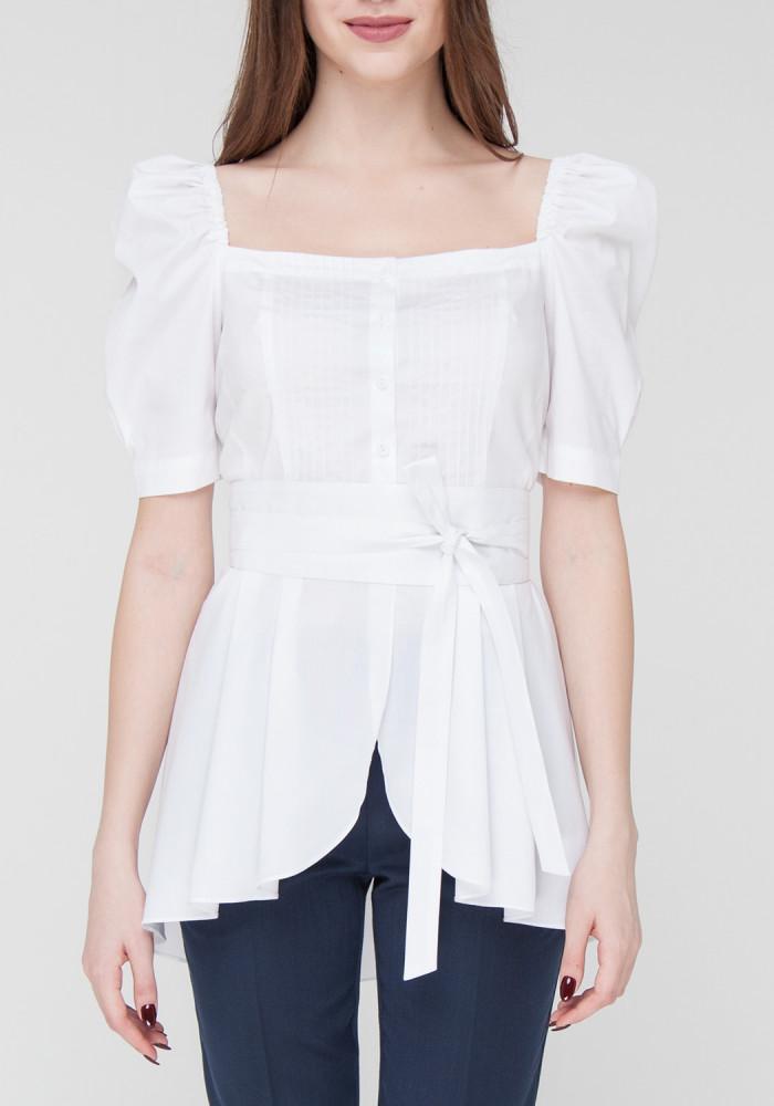 """Біла бавовняна блуза з рукавами-ліхтариками """"Орхі"""""""