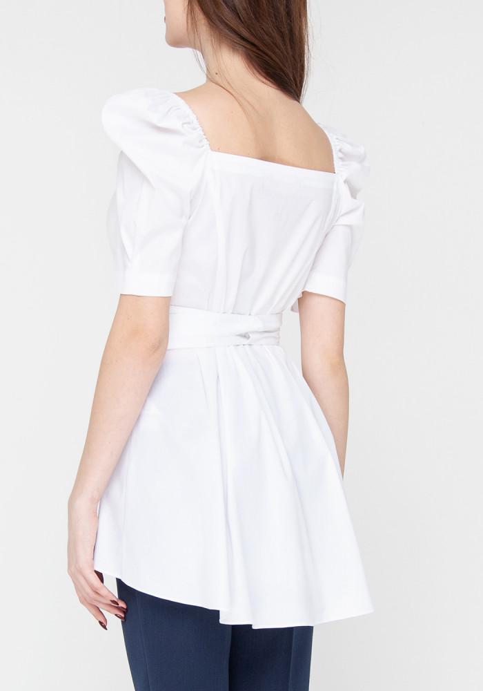 """Белая хлопковая блуза с рукавами фонариками """"Орхи"""""""