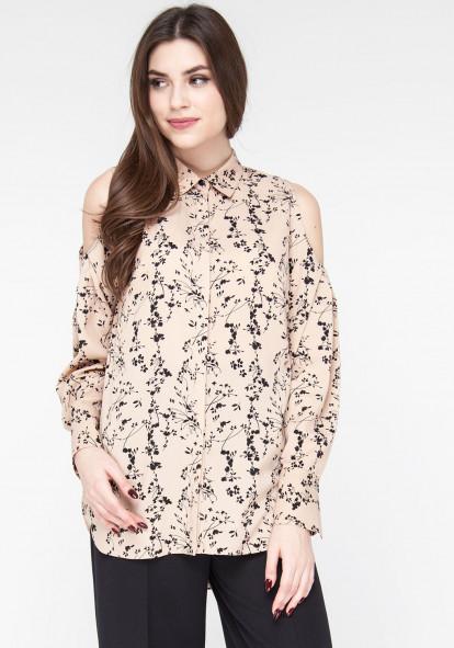 """Блуза с открытыми плечами бежевого цвета """"Труфалье"""""""
