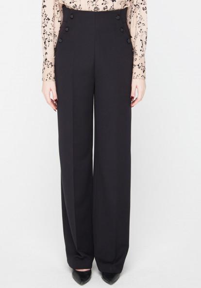 """Широкие брюки с высокой посадкой черного цвета """"Черри"""""""