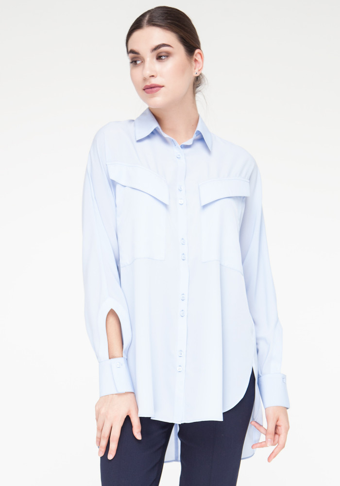 Blue blouse with long sleeves