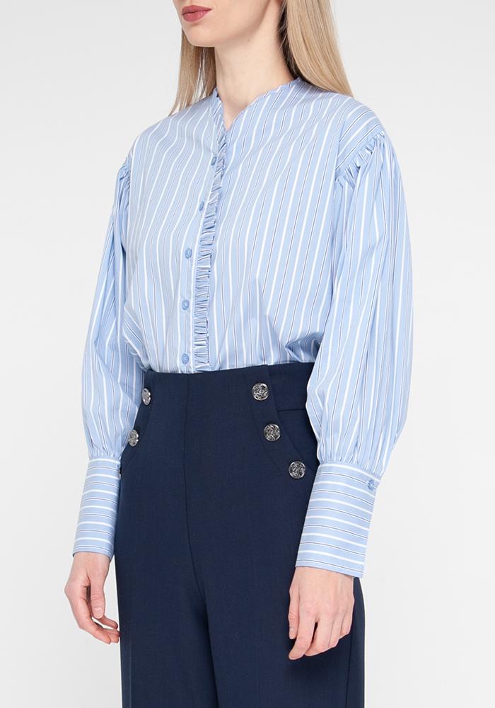"Blouse ""Bonna21"" blue with striped print"