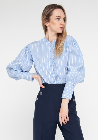 "Blouse ""Bonna21"" blue with striped print"