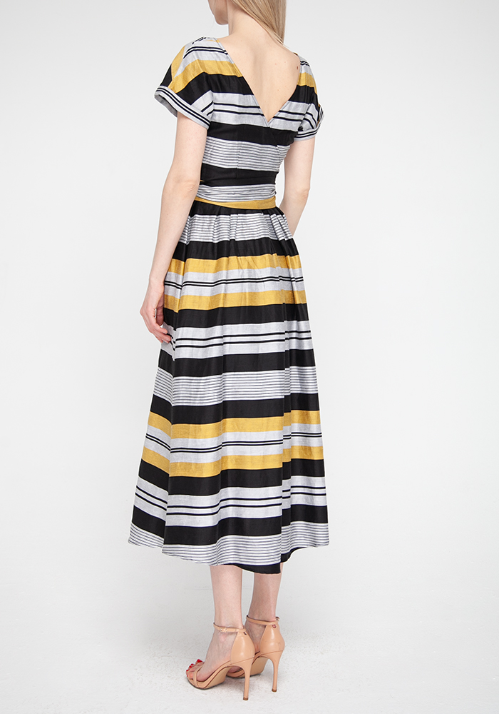 Linen midi dress with striped print Fantasiya