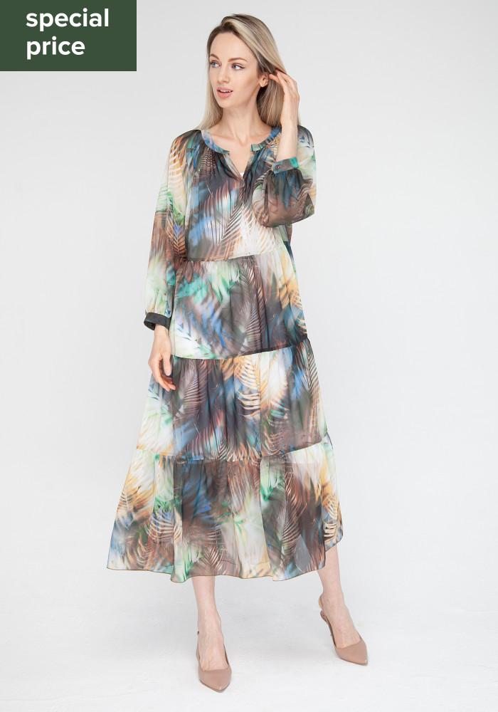 Flared dress with bright  fern print Riviera