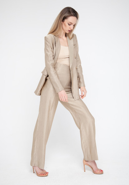 Wide leg trousers with a high rise in golden sand Forli