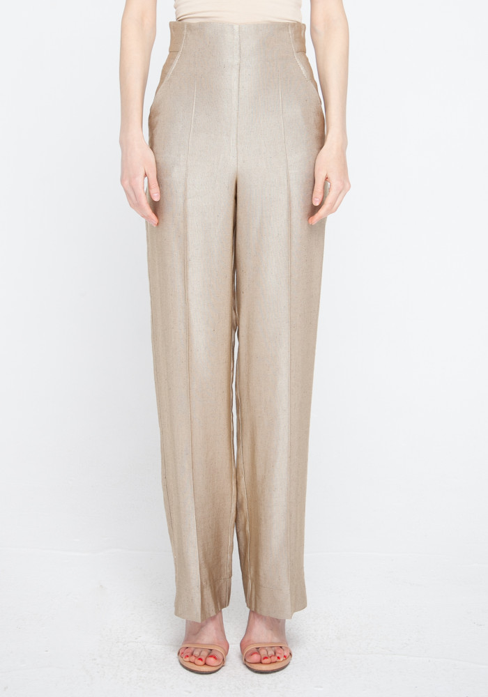 """Wide leg trousers with a high rise """"Forli"""" in golden sand"""