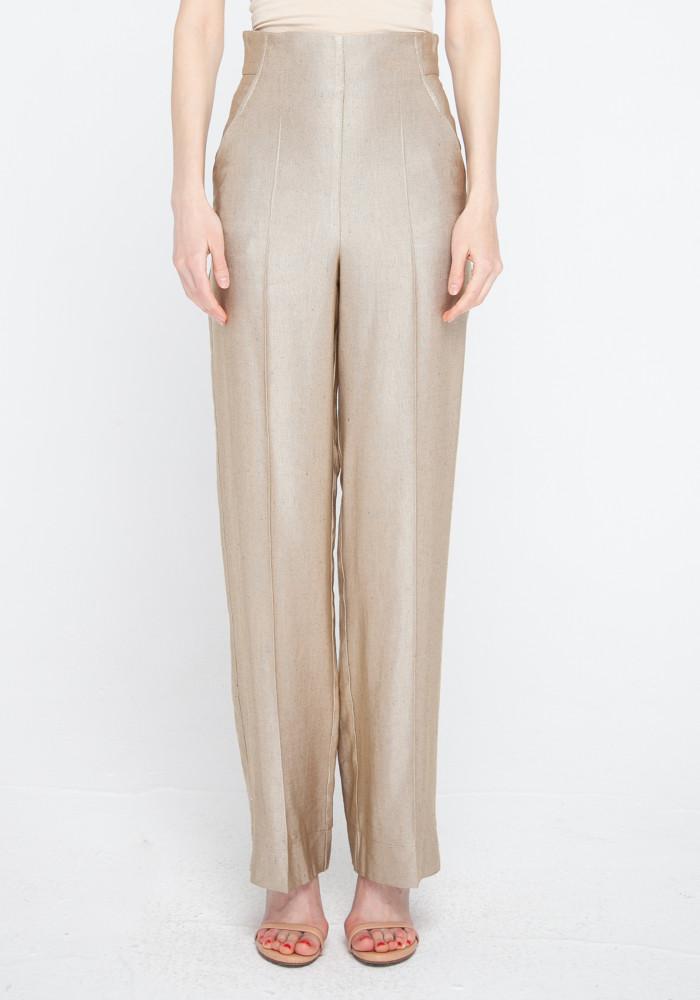 """Широкі штани з високою посадкою """"Форлі"""" кольору золотий пісок"""