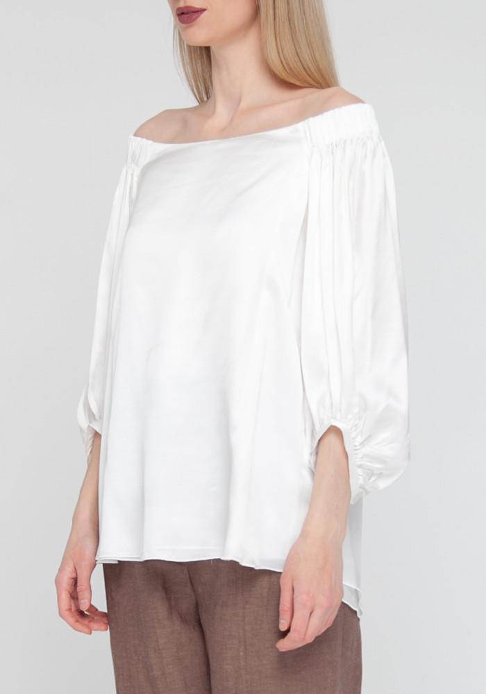 """Белая блуза с объемными рукавами """"Вивальди"""""""