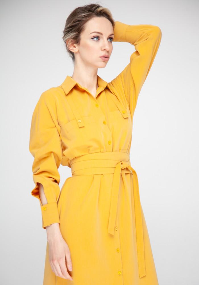 """Платье-рубашка горчичного цвета """"Симона"""""""